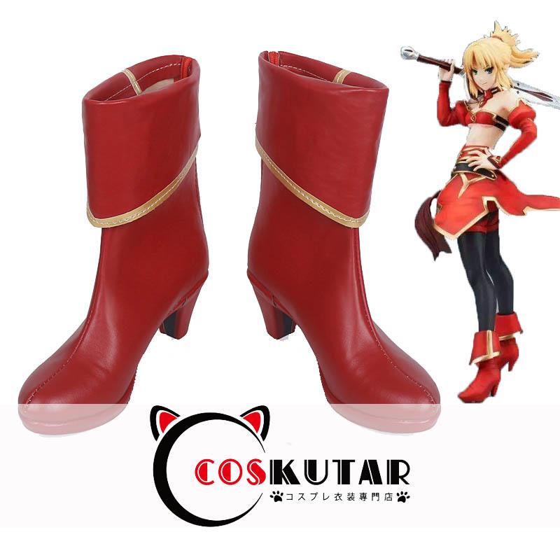 画像1: Fate/Apocrypha アポクリファ モードレッド 赤のセイバー  コスプレ靴 (1)