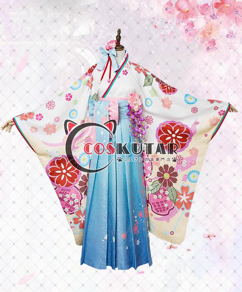 画像1: Fate/Grand Order FGO マシュ・キリエライト コスプレ衣装 正月礼装 概念礼装 いろはにほへと 和服  (1)