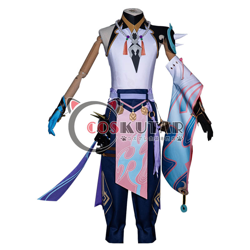 画像1: 原神 Genshin 魈 ショウ コスプレ衣装 (1)